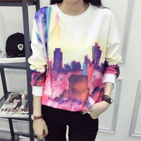 City View Printing Loose Hoodies Sweater Pullover Long Sleeve for Women Teen Girls Student