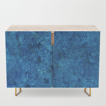 Turquoise blue swirls doodles Credenza by savousepate