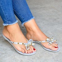 Bow Grey Studded Jelly Sandals