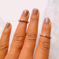 Silver Beaded Stackable Above Knuckle Rings, Adjustable Midi Ring, Slim Stackable rings, Edgysheeq statement rings for everyday Flair