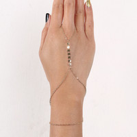 Coin Accent Curb Link Hand Chain