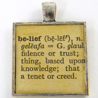 Word Pendant - Belief Dictionary Page Inspirational Affirmation Silver Jewelry Charm
