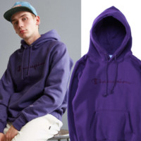 The new champion alphabet embroidery with color line hip-hop hooded plus velvet sweater men and women with the same paragraph