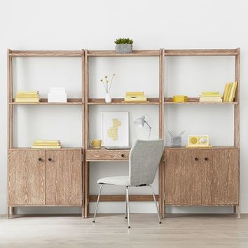 Highland Wall Desk + Wide Bookcase with Cabinet Set