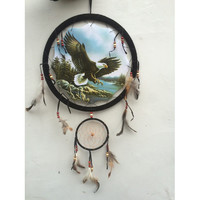Eagle Dream Catcher 13 inch with Feathers
