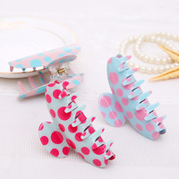 Hair Clip for Women Fashion Plastic Hair Claw dot print candy Color High-quality  Hair accessories Women cute Hair Crab Clamp