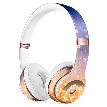 Blue and Orange Scratched Surface with Glowing Gold Full-Body Skin Kit for the Beats by Dre Solo 3 Wireless Headphones