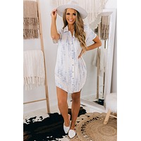 More To The Story Button Up Shirt Dress (Blue)