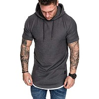 Mens Casual Hooded T-shirt Tops Sport Shirts