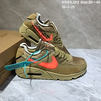 kuyou N1001 Off White x Nike Air Max 90 Air Cushion Casual Sports Running Shoes Khaki