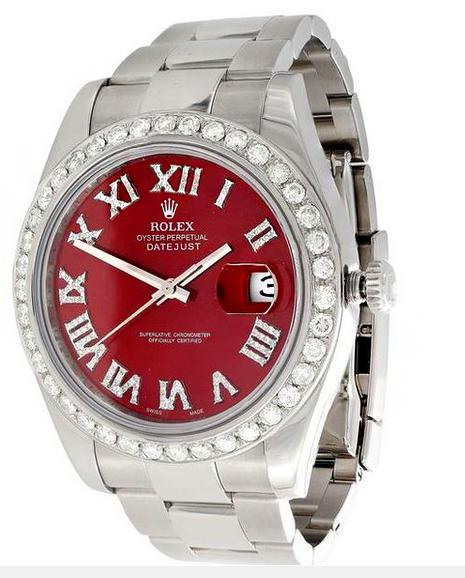 Image of Fashion Mens DateJust II Rolex 116300 Diamond Watch 41mm Red Roman Numeral Dial 3 CT.