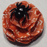 Orange Halloween Flower Hair Accessory; Fabric Flower, Spider Web, All Hallows' Eve, Halloween Party, French Barrette