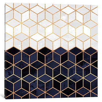 White And Navy Cubes by Elisabeth Fredriksson