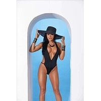 Elegant Moments 82177 Extreme Micro Black Zip-Up Monokini One Piece G-String Thong Swimsuit