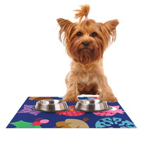 """Jane Smith """"Winter Repeat"""" Blue Navy Dog Place Mat, 24"""" x 15"""" - Outlet Item"""