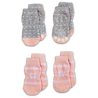 Bond & Co. Pink and Heathered Gray Sweater Cable Socks Set | Petco