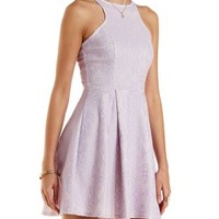 Lavender Racer Front Lace Skater Dress by Charlotte Russe