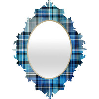 Madart Inc. Multi Blues Plaid Baroque Mirror