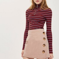 Cord Asymmetric Wrap Mini Skirt