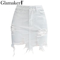 Glamaker Sexy white ripped hole mini summer skirt Short fringe denim skirts Womens tassel high waist party pencil skirt bottom