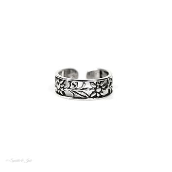 Sterling Silver Open Floral Toe Ring