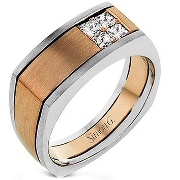 Simon G. Two-Tone Rose & White Mens Diamond Ring