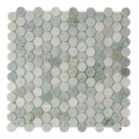 Ming Green Polished Penny Round Mosaic Floor & Wall Tile