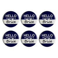 Brice Hello My Name Is Plastic Resin Button Set of 6