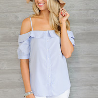* Kennedy Striped Cold Shoulder Top - Blue