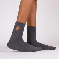 Hollow Heart Sock | Grey