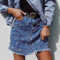 Irregular pearls jean denim skirt