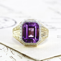 Ostby Barton 10k Amethyst Ring, Antique Art Deco White and Yellow Gold Signet Style Ring, Statement Jewelry, February Birthstone