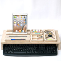 Office Organizer, Desk Storage, pencil holder, Set Wooden Keyboard, phone stand, desk organize, Valentine's Day gifts, thank you gifts ideas