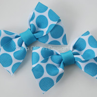 Petite Classic Hairbow, Set of 2, Turquoise Blue White Polka Dot, Simple Bows, 2.5 Inch Hairbow, Hair Clip, Girls Hairbows, Toddler Hairbows