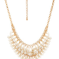 FOREVER 21 Femme Faux Pearl Necklace Cream/Gold One