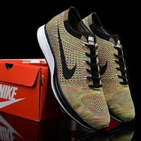 """""""Nike Flyknit Racer"""" Unisex Sport Casual Fly Knit Multicolor Sneakers Couple Running S"""