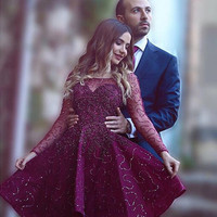 Elegant Long Sleeve Lace Homecoming Dresses,Lace Sequins Homecoming Dress