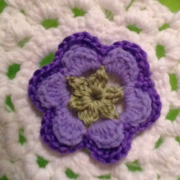 Hand Crochet Flower Appliqué Embellisment -Lavender, Grape Purple and Green
