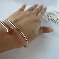 rose gold wire nail bracelet,High Quality,handmade,adjustable,,best gift