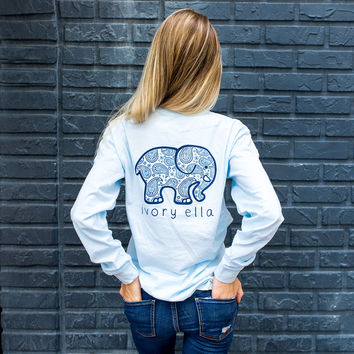 Classic Fit Sky Blue Paisley Tee