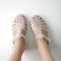 vintage 80s cloudy white JELLY SANDALS. Jellies sandals. French Jellies