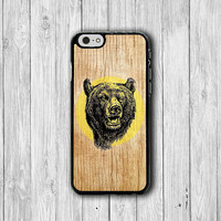 iPhone 6 Case Wood Grizzly Bear Head Drawing Phone 6 Plus Cases, Retro Plastic iPhone 5, 5S, iPhone 4, 4S Cover, Personalized Custom Gift