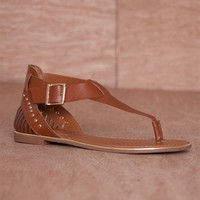 Breckelles Heel Of A Time Woven Heel T-Strap Thong Sandals Jovie-21 - Tan
