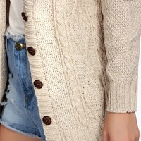 Stacey Cable Knit Button Cardigan