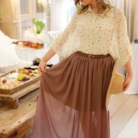 Brown Pleated Sheer Maxi Skirt with Brown Belt