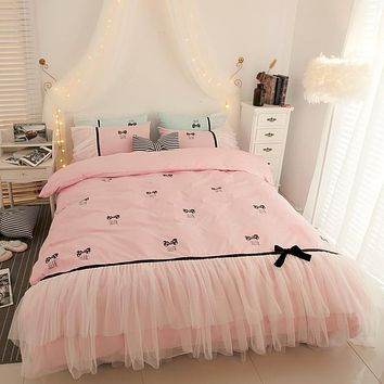 High Quality   Princess Lace Edge Bedding Sets