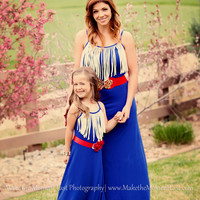 Mommy Fringed For Life Royal Blue/ White Dress - Ryleigh Rue Clothing by MVB