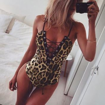 2017 Trending Fashion Leapord Women Strappy Jumpsuit One Piece Top _ 13430