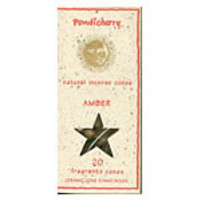 Pondicherry Natural Incense Amber Cones 20 per package (includes ceramic cone stand)