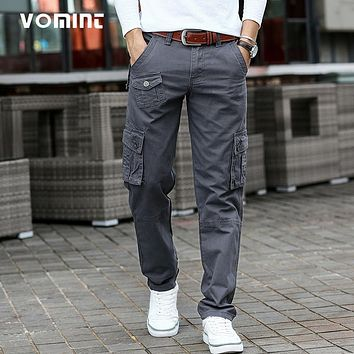 VOMINT 2017 New Arrival Mens Casual Cargo Pant Cotton Military Funtional Trousers Regular Straight small Mutil Pockets Hot Sale